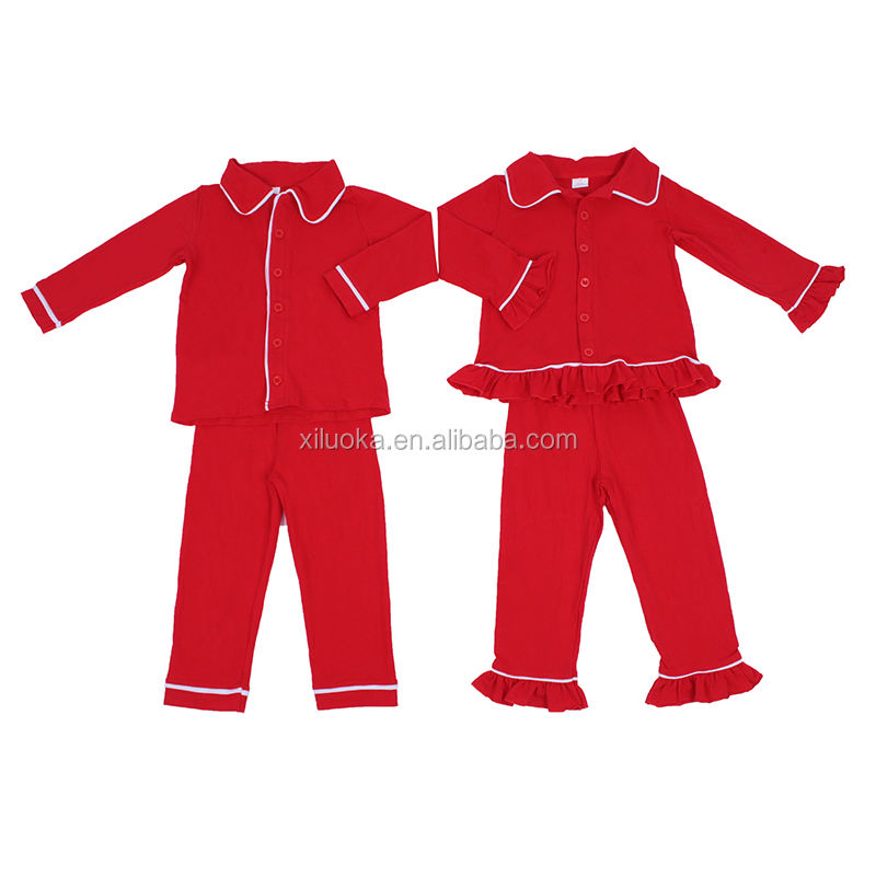 Hot Sell Family Matching Kids Sleeping Clothes Set Solid Red Cotton Wholesale Christmas Pajamas