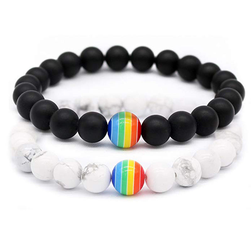 Rainbow Bracelet for Women and Men 8mm Natural Stone LGBT Pride Strand Couple Bracelets Handmade Jewelry