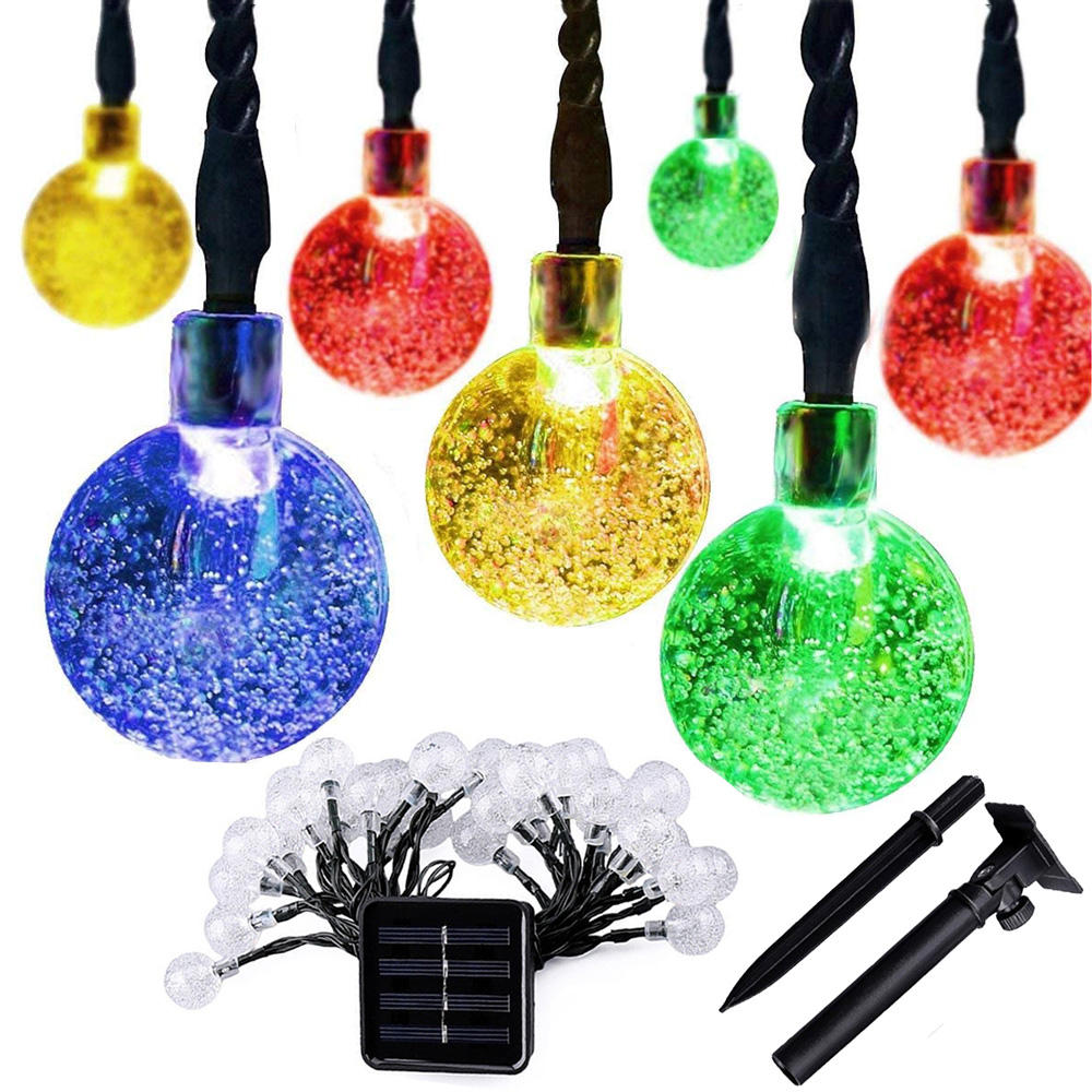 20 led Color Changing solar christmas decorative led lights outdoor solar bubble string lights for Garden