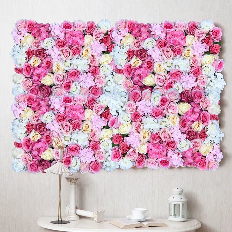Roll up Wedding decorative artificial silk rose flower wall backdrop