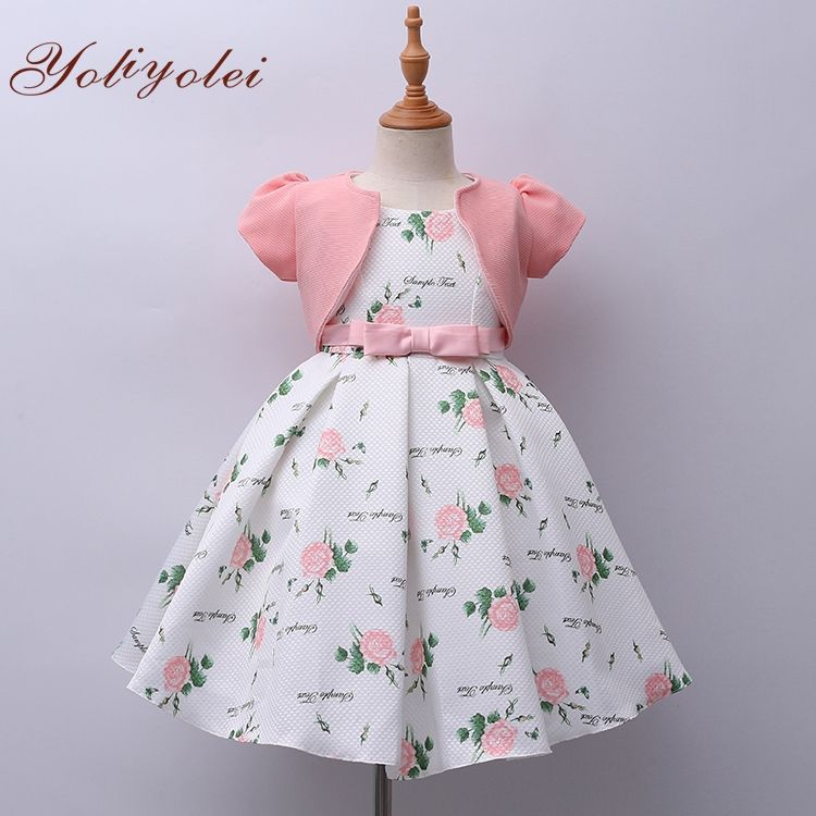 Hot Sale Child Kid Wear Clothing Short Sleeve Flower Print Floral Girls Party Dress For Girl 2-10 Year