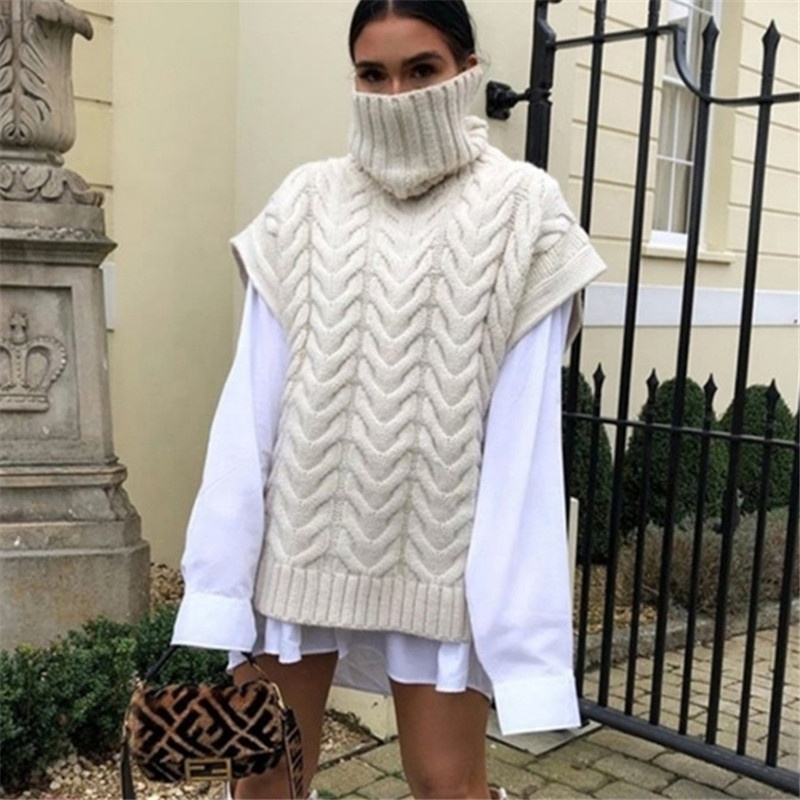 Women Loose Knitted Vest Oversized High Collar Sweater Vest Winter Knitwear Sleeveless Turtle Neck Sweater Vest Pull Sans Manche