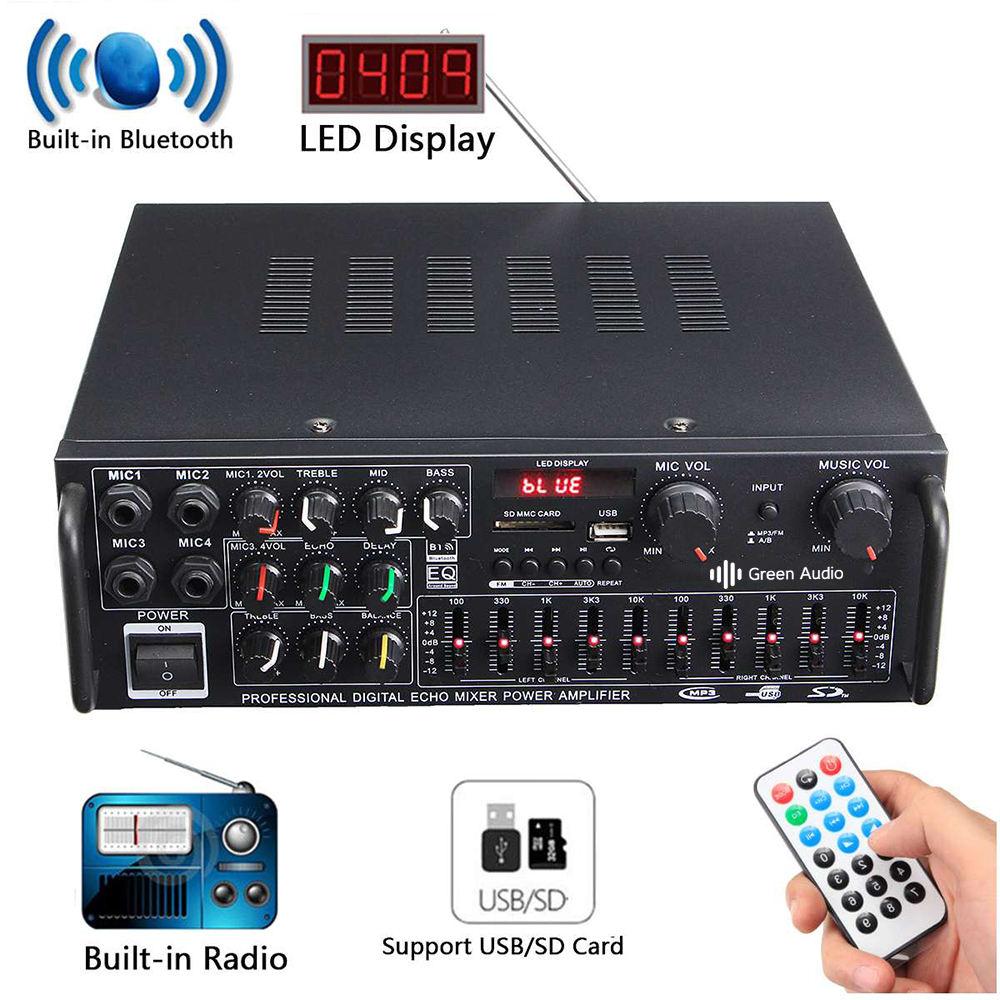 GAP-326BT bluetooth 2,0 канал 2000 Вт аудио усилитель мощности <span class=keywords><strong>HiFi</strong></span> 326BT 12 В/220 В AV Amp динамик с пультом <span class=keywords><strong>дистанционного</strong></span> управления для автомобиля дома
