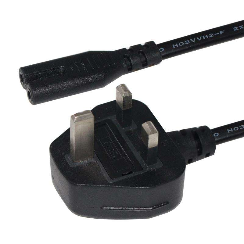 1.8M BS standard 3A fused British 3pin plug to IEC C7 figure 8 receptacle UK power cord