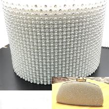 W136 24 rows crystal plastic trimming bling bling crystal pearl mesh fabric rhinestone for bags
