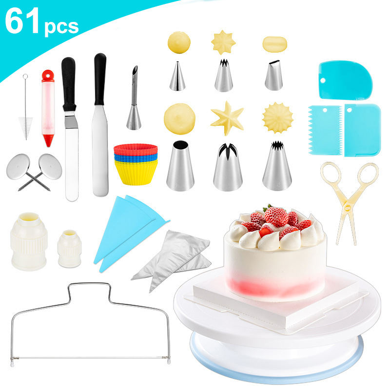 61 Pcs Baking Pastry Cake Tools Decorating Supplies Kit Set Accessories Cake Decorating