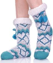 wholesale Warmer Knit Festive Winter Fleece Lining sheepskin slippers indoor Christmas fuzzy slipper socks for women