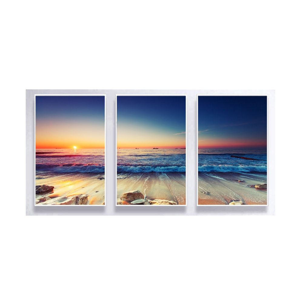 Three panels blue sea scenery wall art decorative digital painting with white floating frame