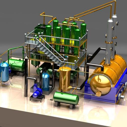 Waste crude oil distillation plant recycling to diesel with negative pressure
