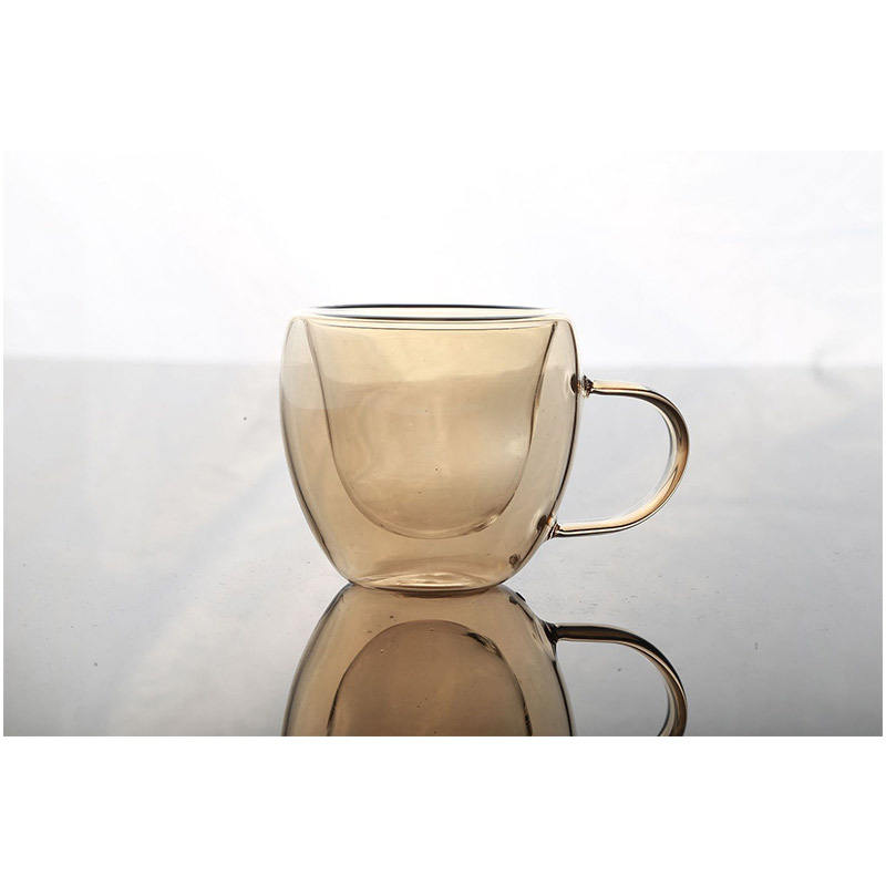 Leverancier Populaire Factory Creative Fancy Borosilicate Amber Double Wall Cup Voor Drinkware