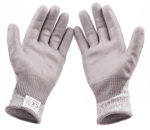 13G Nylon and HPPE and Glass fiber liner coated pu cut resistant level 5 working gloves guantes resistentes a cortes