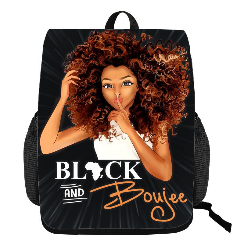 New Black Girl Design Printing Backpack Kids School Bag for Girl Young People Daily Bag Africa Girl School Backpack Sport Bags