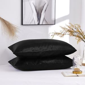 New Arrival Customized Cheap Simple Style Black Silk Satin Single Summer Pillow Case Cover Printed With Label