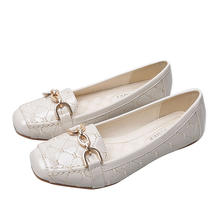 Size 35-40 Popular Model Woman PU Leisure Flat Shoes Square Toe Anti-slip Shoes for Ladies