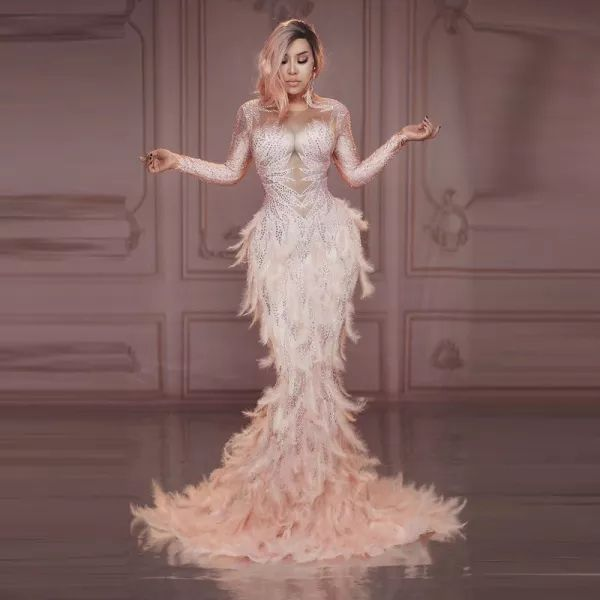 A3795 Pink Feather Diamond MIGO 2020 new style elegant maxi meramdi Floor Length fashion dress for women wedding dress