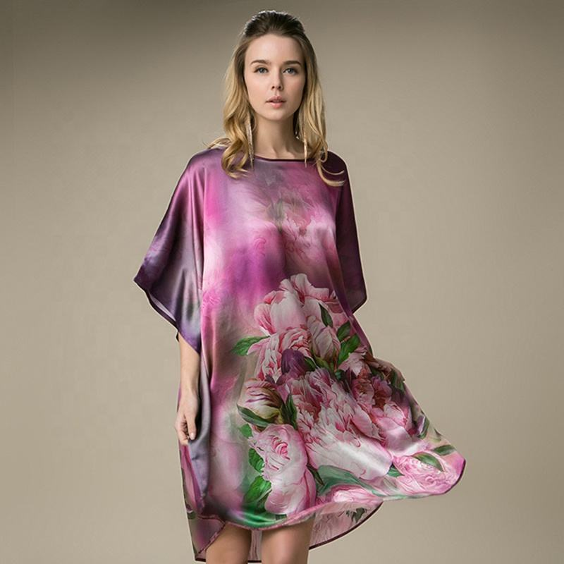 Fashion Design Organic 100 Silk Summer Bedroom Nighty Plus Size Smooth Silk Robe
