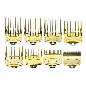 Luxury Gold 8pcs Set Hair Clipper Comb Guard Plastic Hair Cutting Trimmer Comb Guide Universal Hair Clipper Limit Comb