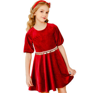 Girl baby dress Lace Party long evening Velvet dress for birthday dress 1-14 year old girl