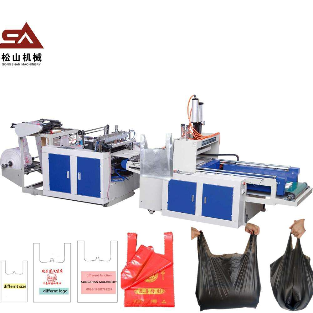 Chinese Manufacturer wholesale ce certificated double line hot cutting plastic bag making machine for strong garbage bags