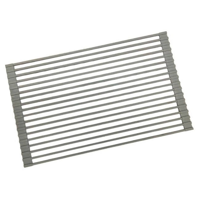 Foldable Multi-Use Silicone Coated Stainless Steel Dish Drainers Heat Resistant Mat Drying Rack
