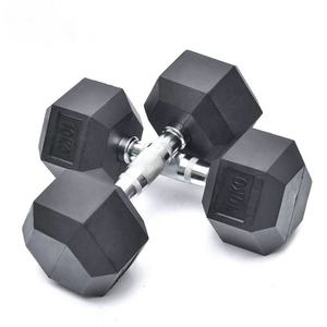 Wholesale competitive price black rubber hex dumbbell