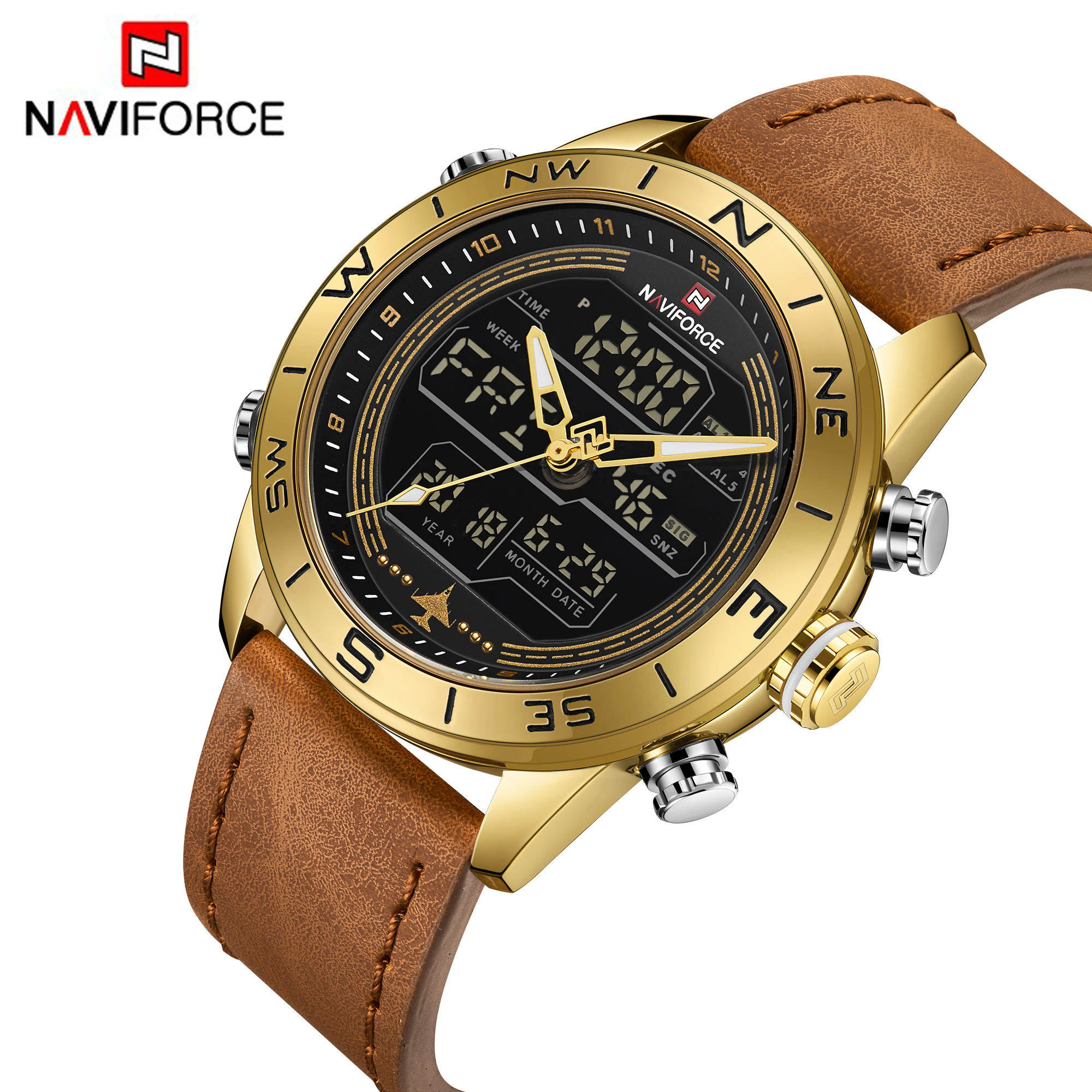 2019 naviforce 9144 new fashion sport digital 30m water proof men's wrist watches with blue genuine leather strap