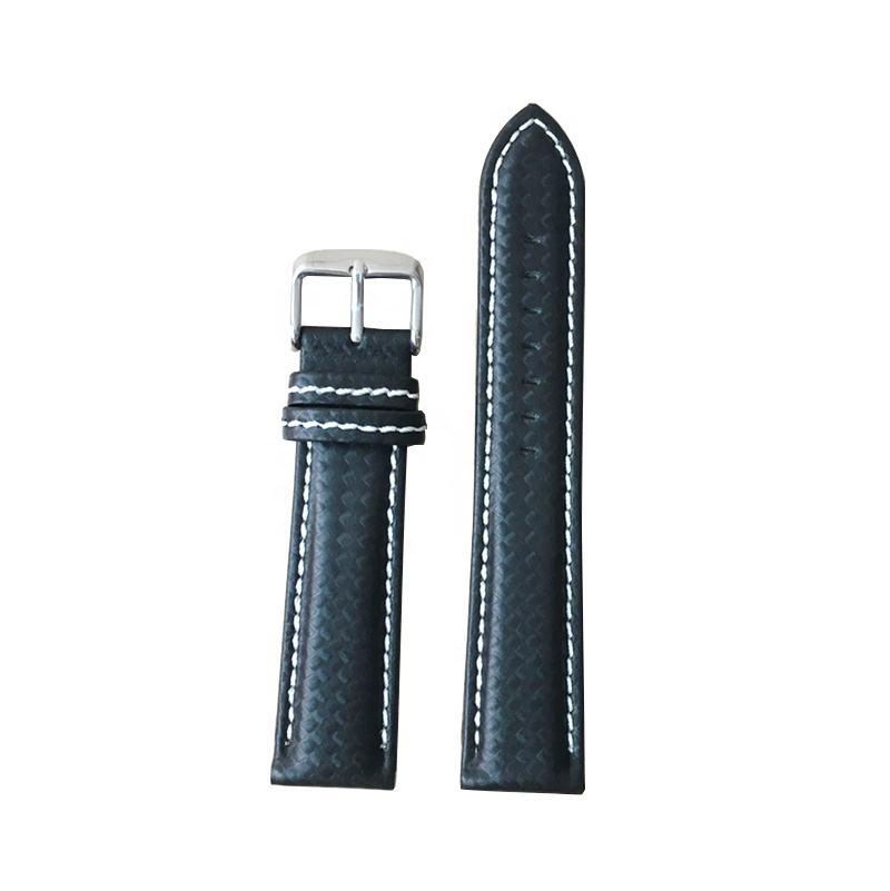 High-quality contrast thick-stitching padded carbon fiber nappa genuine leather cowhide watch band strap belt 16 18 20 22 24mm