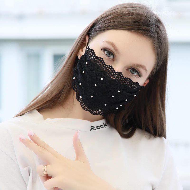 designer lace fashion face mask for decoration shield reusable cotton breathable anti dust face mask