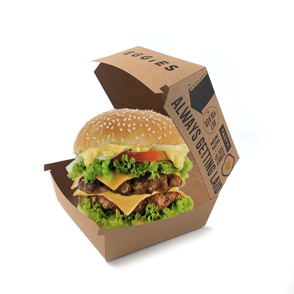 Custom Disposable Food Grade Cardboard hamburger Packaging Paper Burger Box