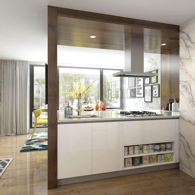 OPPEIN Living Room Cut Off Design Small Galley High Gloss White Kitchen Cabinets