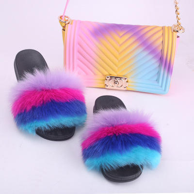New Design Women Luxury Fur Slides With rainbow handbags for fur slides handbag sets