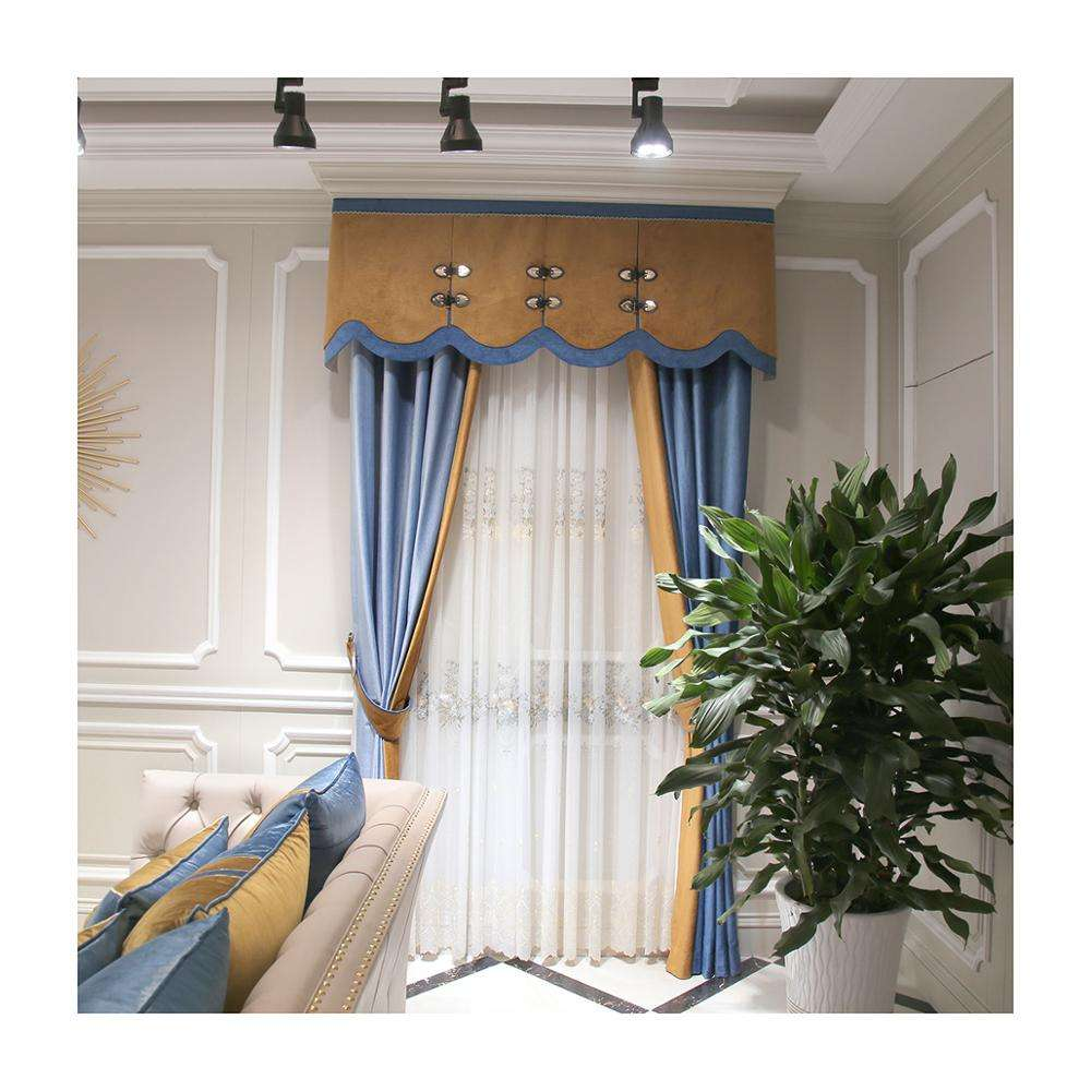 Custom ready made modern luxury european double blackout jacquard curtains with attached valances