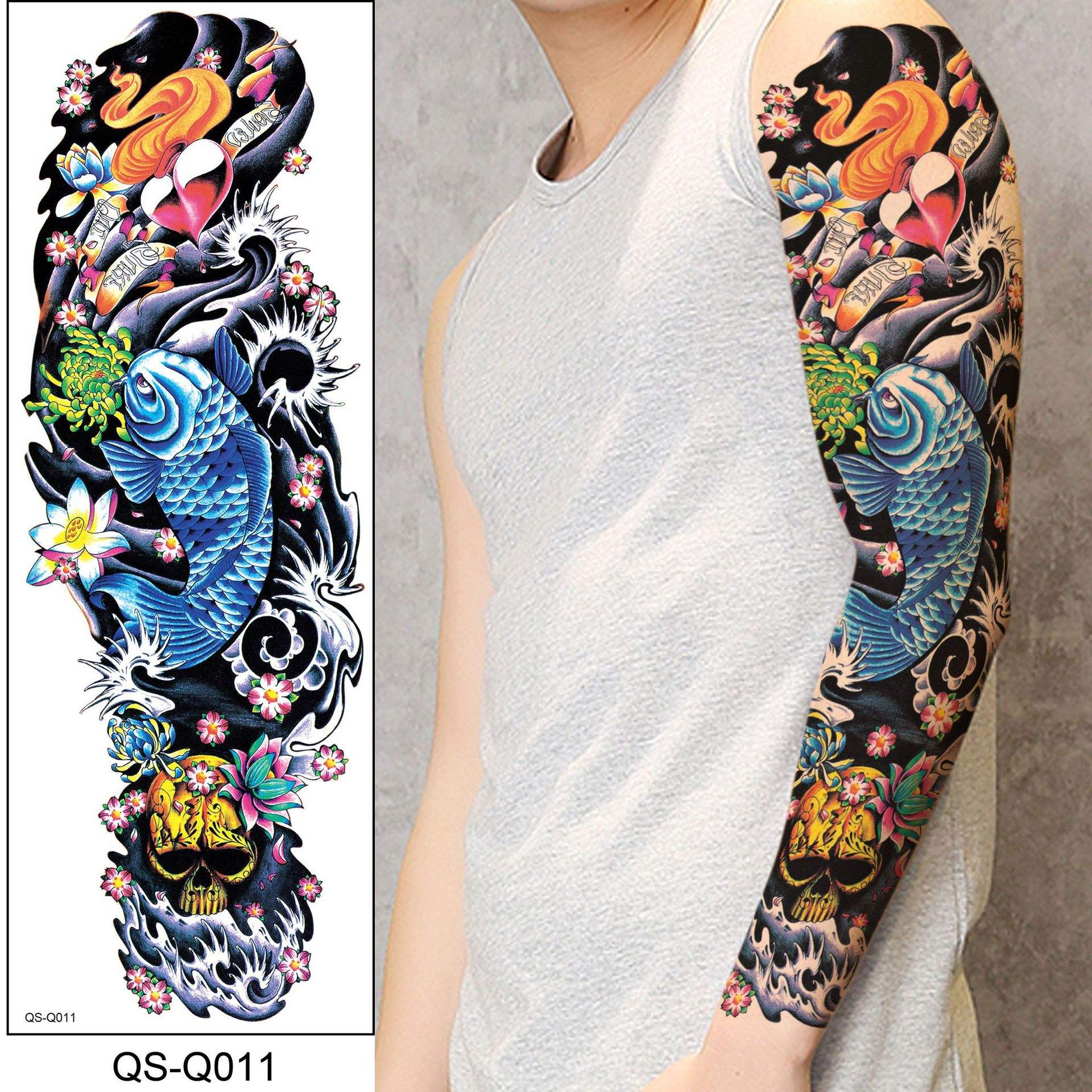 Waterproof Temporary Tatoo Full Arm Fake Tattoo Sticker Fish Rose Prajna Tattoo Tattoos Stickers Tatouage Art For Men Women Girl