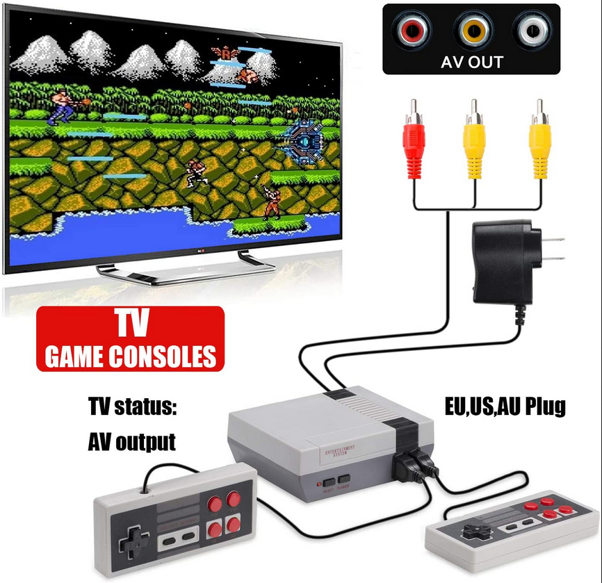 TV Video Game Console Built-in 620 Games Arcade Retro Classic 8 Bit Handheld 2 NES Controllers AV Output
