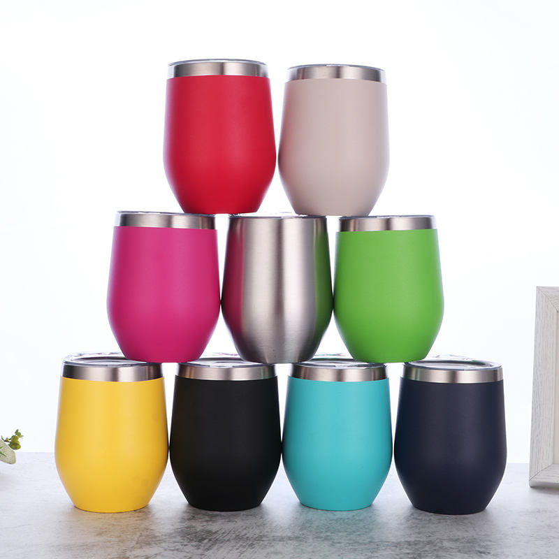best selling 2020 12oz Double wall stainless steel thermal red wine tumbler vacuum insulated wine glass with powder coating