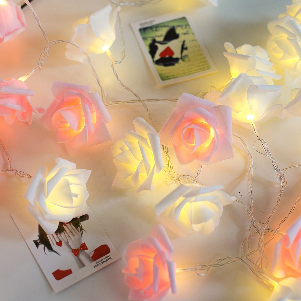 Kanlong factory price 40 LED bulbs pink white rose shape christmas valentine's day wedding decorative flower fairy string light