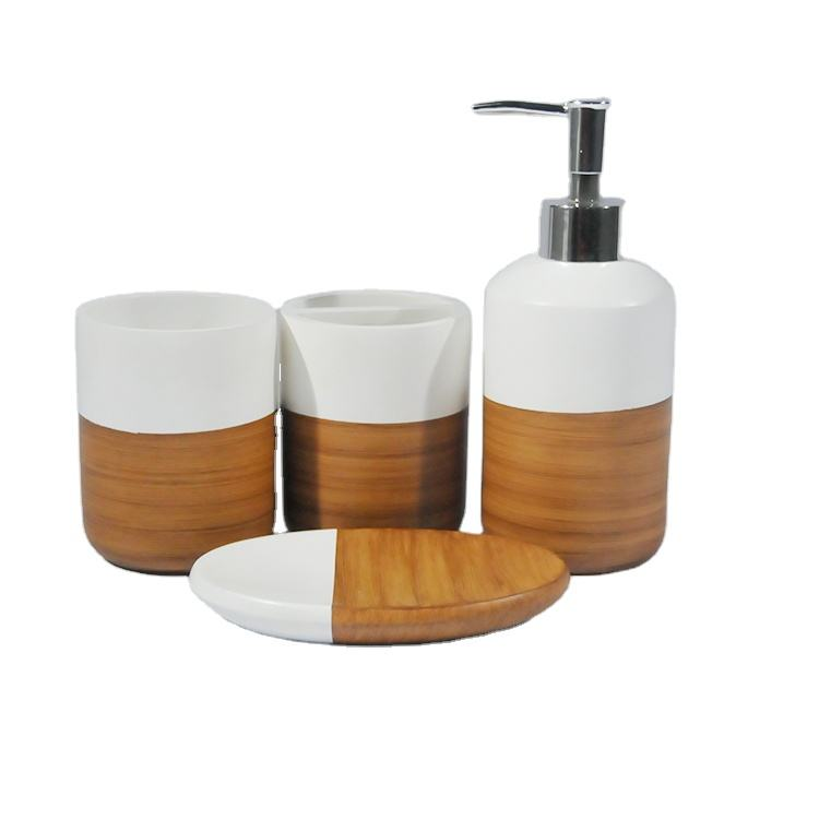 Resin Bath Accessories Toothbrush Holder Plane White And Brown Bathroom Accessory Set
