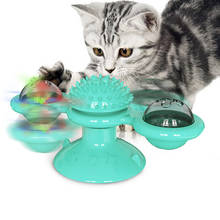 grooming rubber molar cat pet toy windmill catnip bell toy for kitten