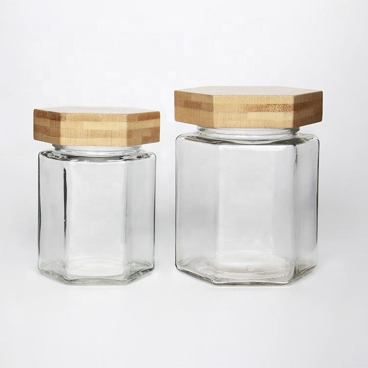 Top Grade Hexagon Flat Glass Honey Jar with Bamboo lid and Cork NO Leaking