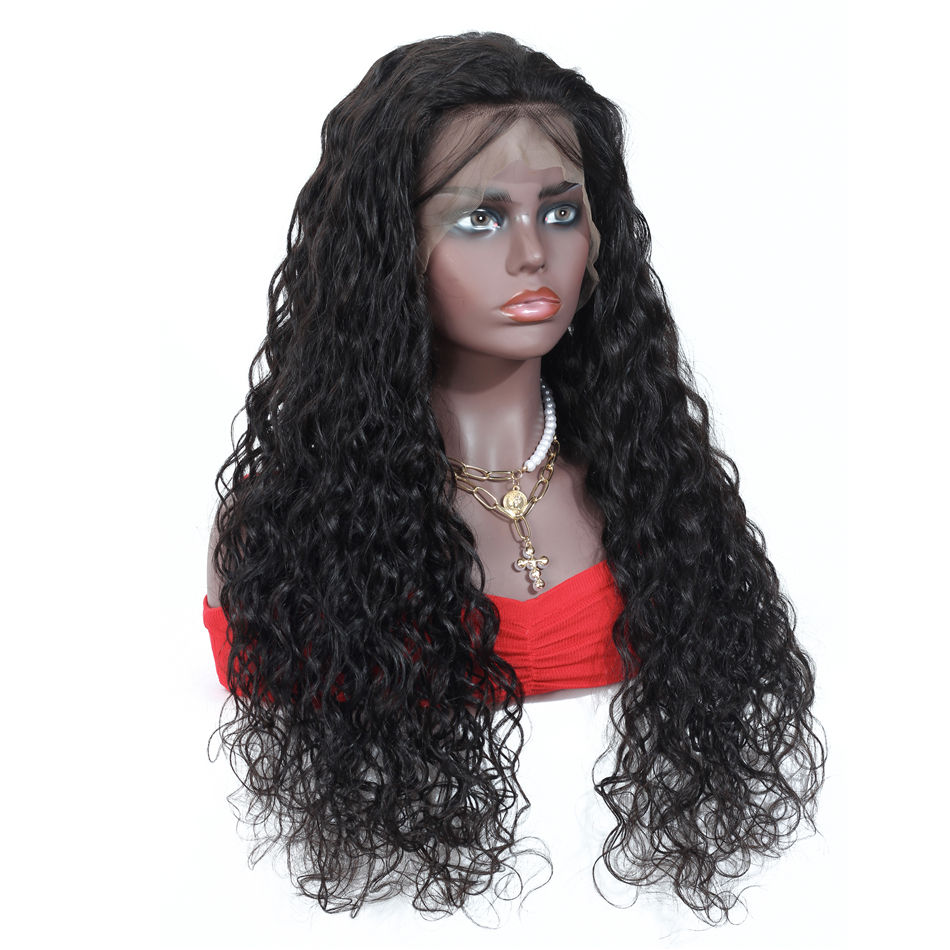 Natural 1b Color Water Curly Wave 13x6 Front Lace Wig Human Hair Brazilian Cuticle Aligned Transparent Lace Wig With Baby Hair