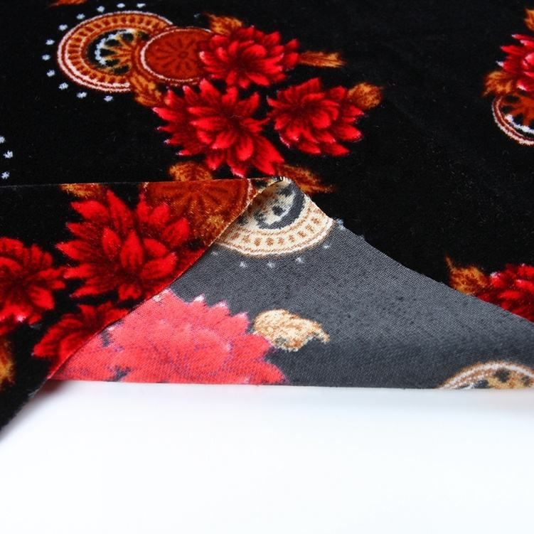 Printing kain abaya plain velvet clothing micro velour fabric for dresses