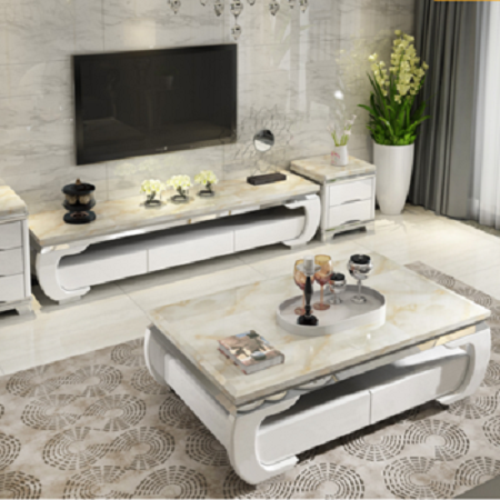 Solid Wood Marble Tea Table TV Cabinet Combination Suit Simple Modern Small Family Sitting Room Stainless Steel Tea Table