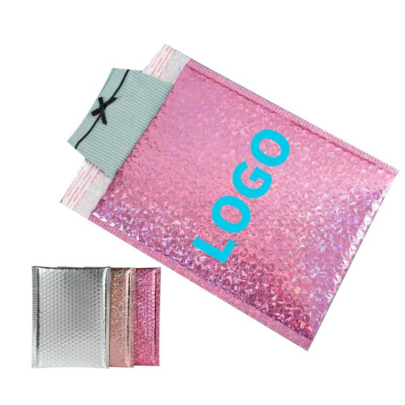 Glamour Customized Resealable Pink Holographic Card Envelopes Shipping Bubble Pack Mailer