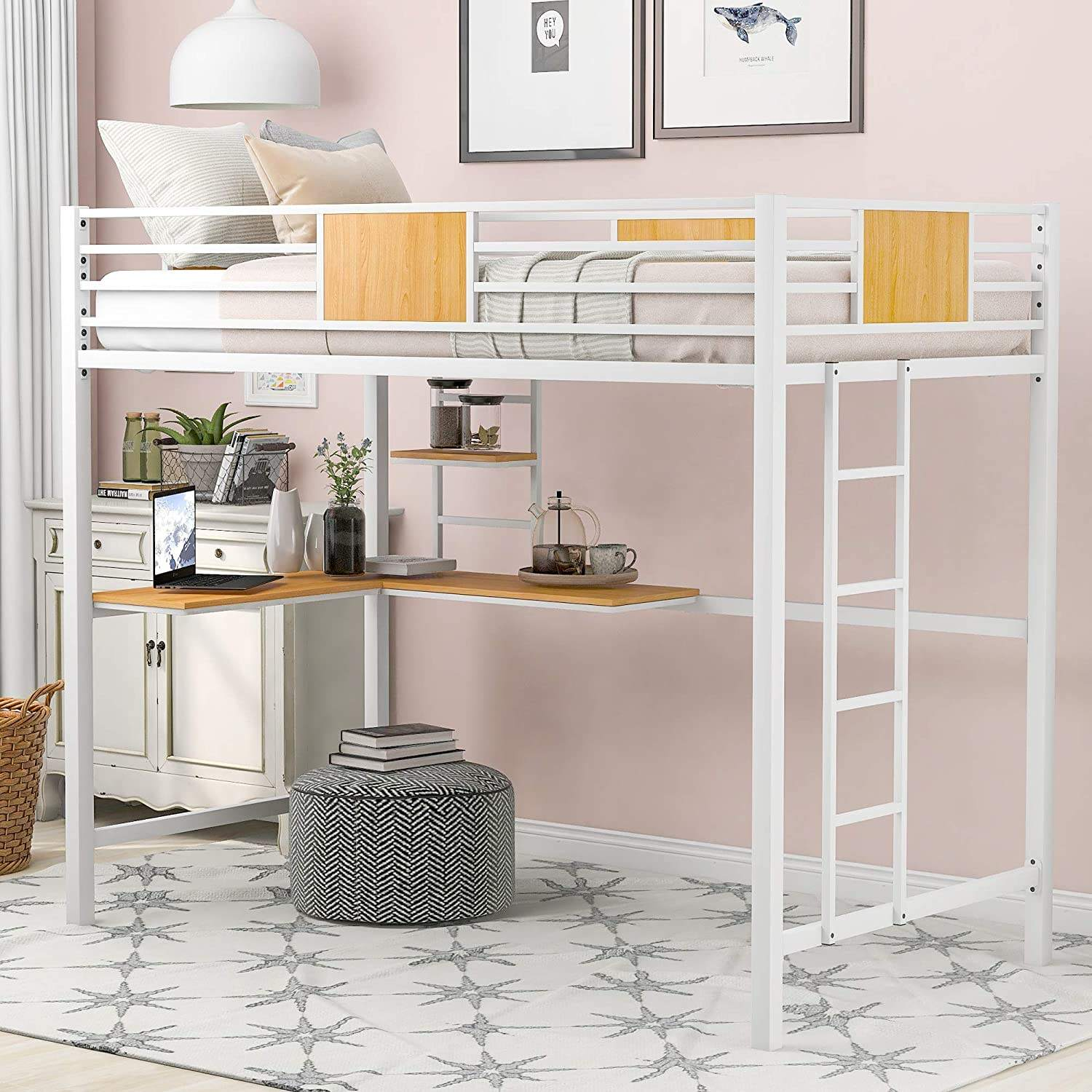 Metal loft Bed, with Railing, with Desk and Shelf