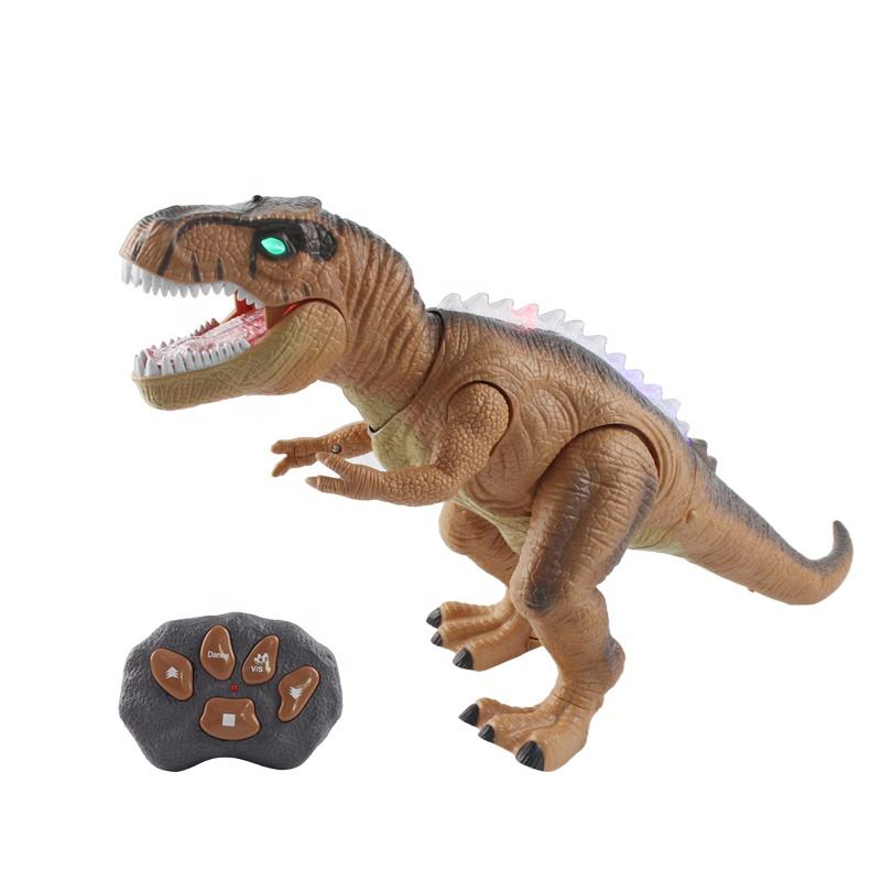 HUADA 2020 Children Simulated Red Light Eyes RC Remote Control Robot Toys Dinosaur with Sounds