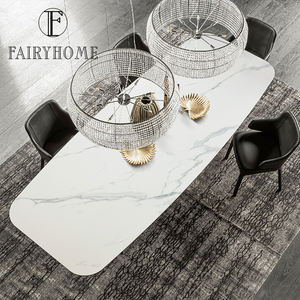 Modern Contemporary Nordic Stainless Steel Rectangular Ceramic marble Top Dining Room Table Mesas sets Furniture with Chairs