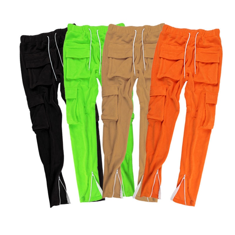 Latest Street Style Men Sweat Pants Zipper Cuffs Men's Trousers Slim Fit 6 Pockets Trousers