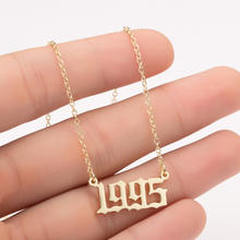 CLARMER Wholesale Titanium Jewelry Birthday Gift Personalized Digital Pendant Woman Gold Stainless Steel Year Necklace