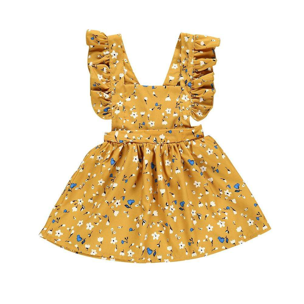New arrival summer Baby Girls floral Print ruffle sleeveless casual dress