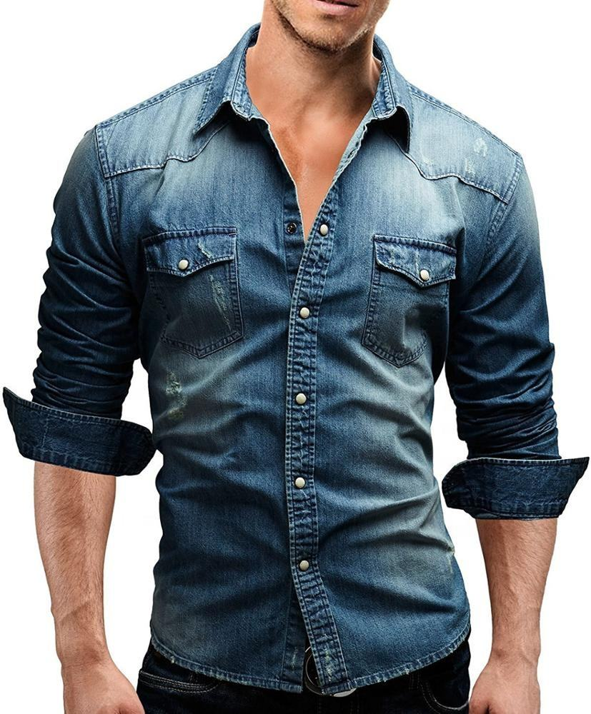 western style casual denim jeans mens cotton shirts